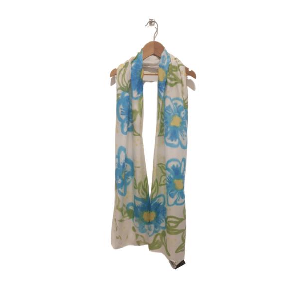 Blue Flowers Hand dyed Silk Scarf by Kathy Willmott