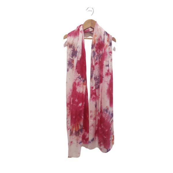 Pink hand dyed Habotai Silk Scarf by Kathy Willmott