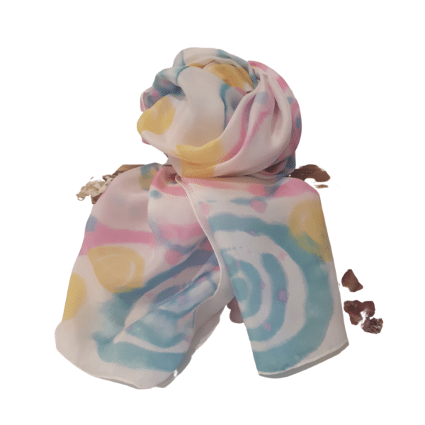 Pink Swirls hand dyed Silk Scarf by Kathy Willmott