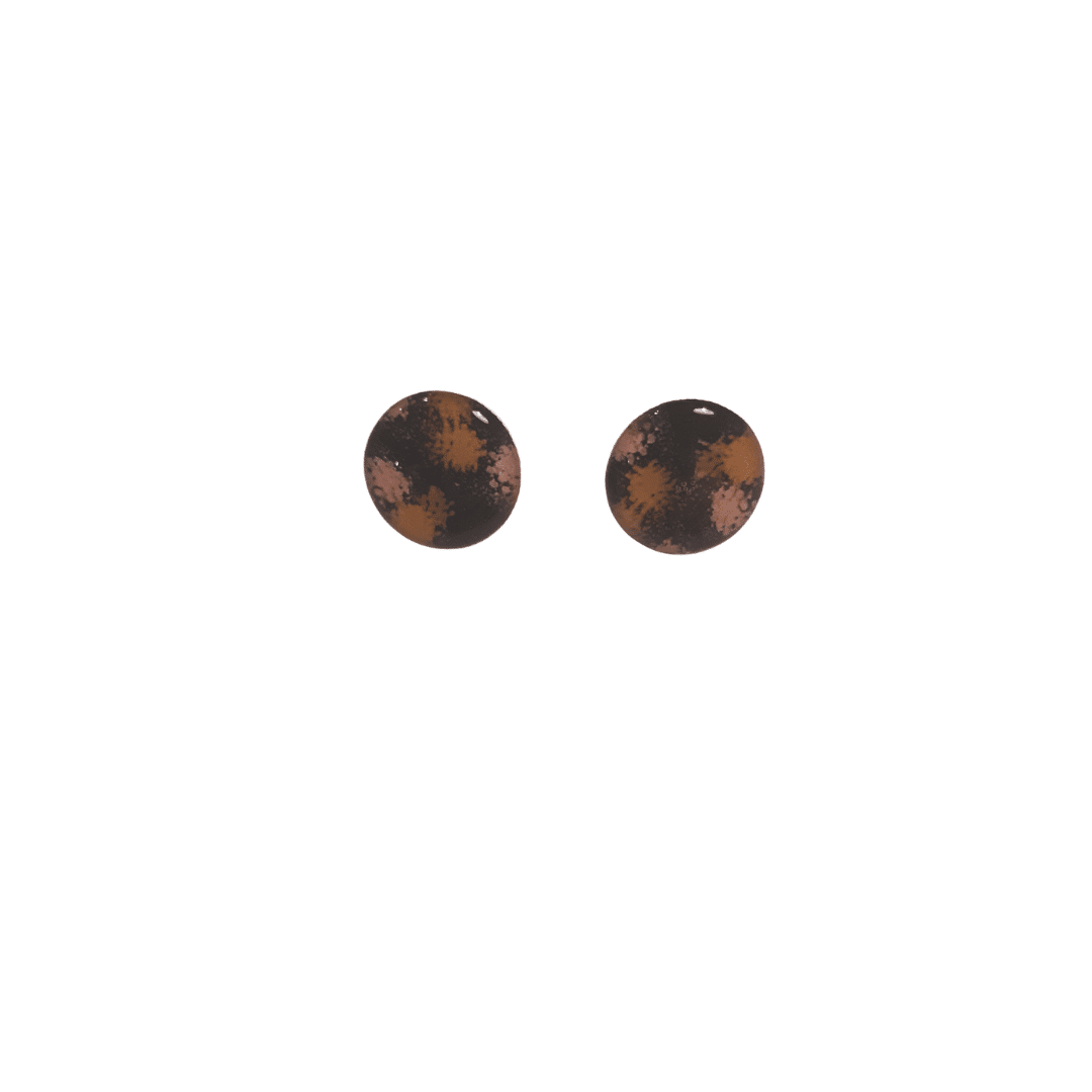 Black Abstract Floral Small Stud Earrings By Ear Candy