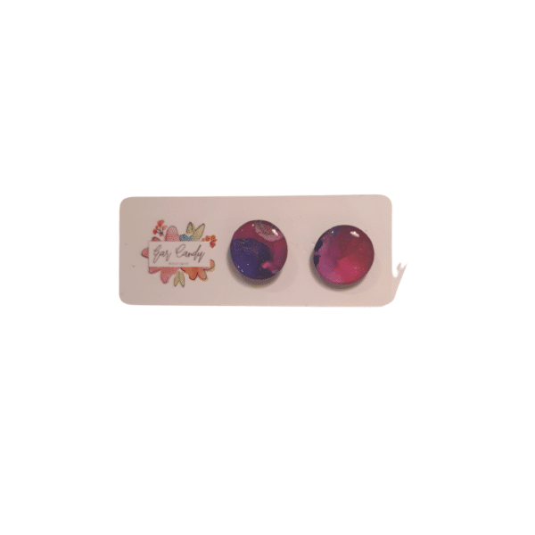 Pink and purple galaxy small stud Earrings by Ear Candy