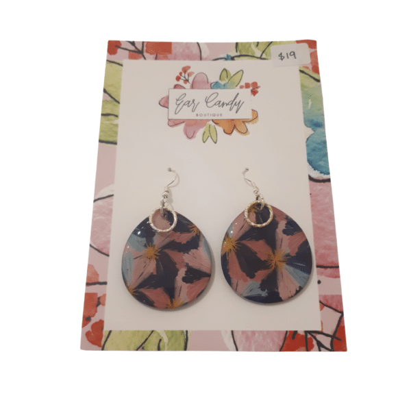 Blue and Pink Floral abstract Dangle Earrings by Ear Candy