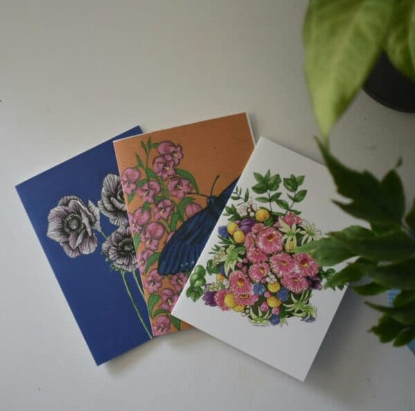 potted-plants-greeting-cards-three-card-pack-botanical-collection-sarah-sheldon-art-by-a-vibrant-nest-by-avibrantnest