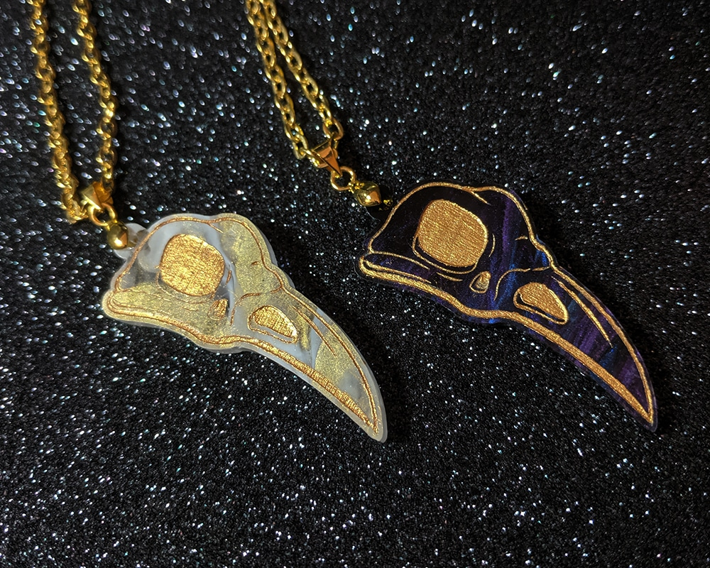 Raven Skull Acrylic Necklace By Beth Parow Illustration & Design