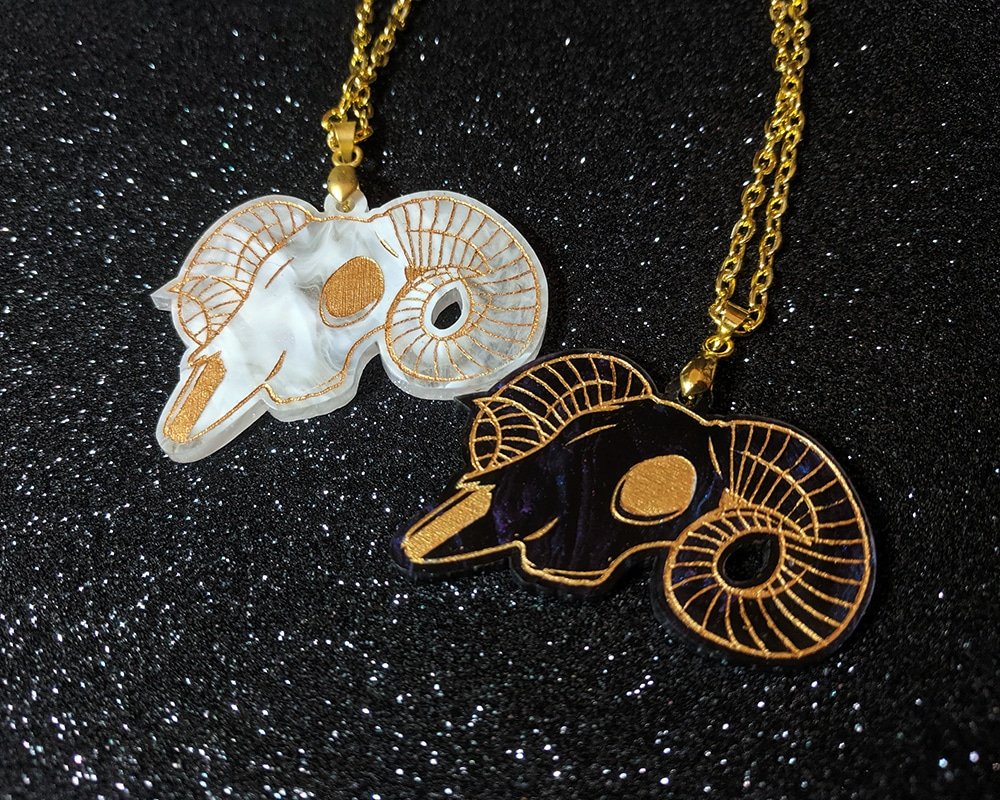 Ram Skull Acrylic Necklace By Beth Parow Illustration & Design