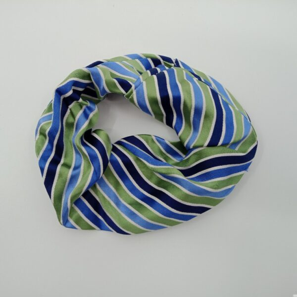 Upcycled Silk Scrunchie Hair Tie - Striped Blue and Green by Judith Scott Upcycling