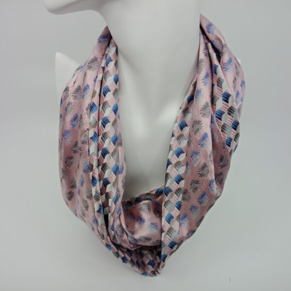 Unique Upcycled Silk Infinity Scarf - Pastel Pink by Judith Scott Upcycling
