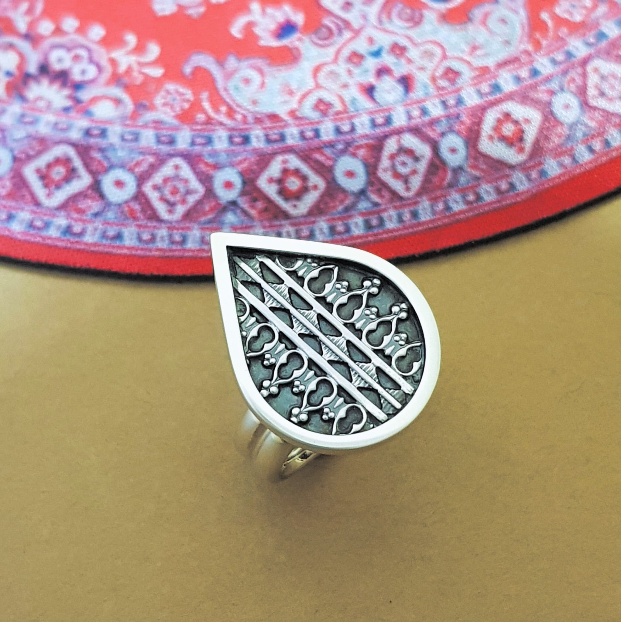 """""""Pear And Lace"""" Oxidized Sterling Silver Ring By Flying Lobster Jewellery"""