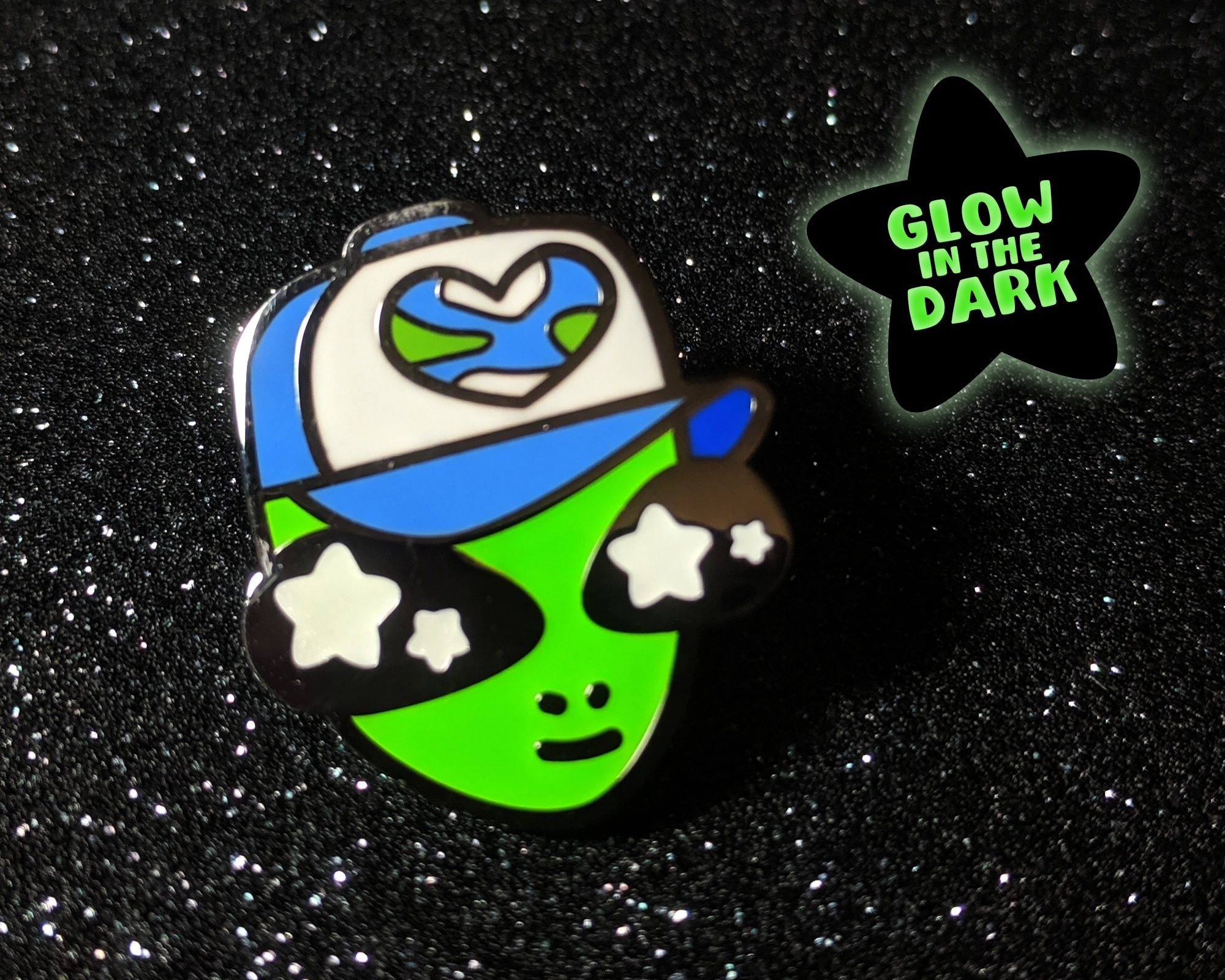 Alien Glow In The Dark Hard Enamel Pin By Beth Parow Illustration & Design