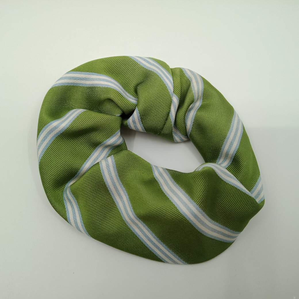 Green Silk Scrunchie By Judith Scott Upcycling