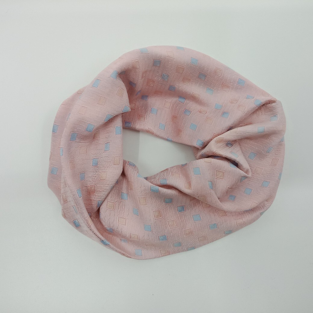 Upcycled Silk Scrunchie Hair Tie – Pale Pink And Blue By Judith Scott Upcycling