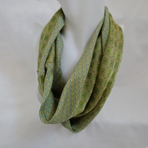 Spring Upcycled Silk Infinity Scarf - Green and Gold by Judith Scott Upcycling
