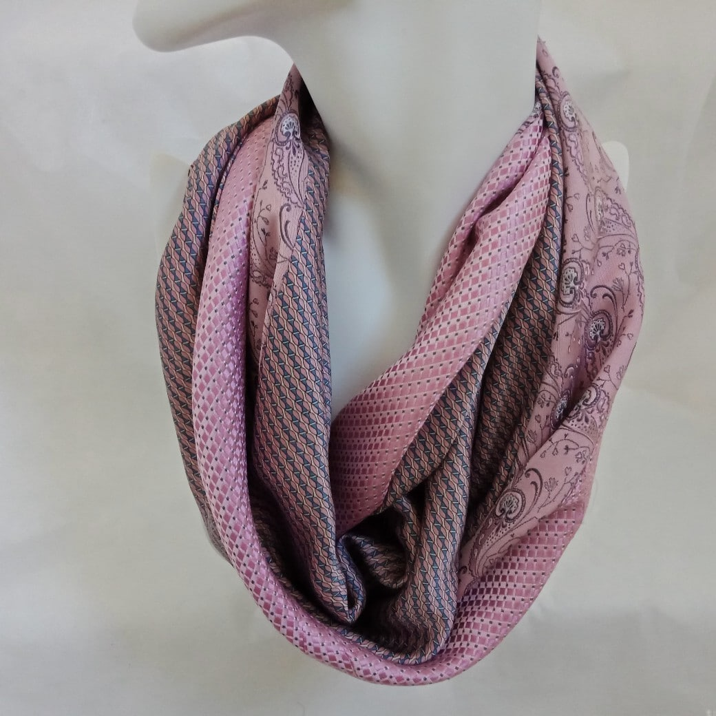 Pink Silk Infinity Scarf By Judith Scott Upcycling