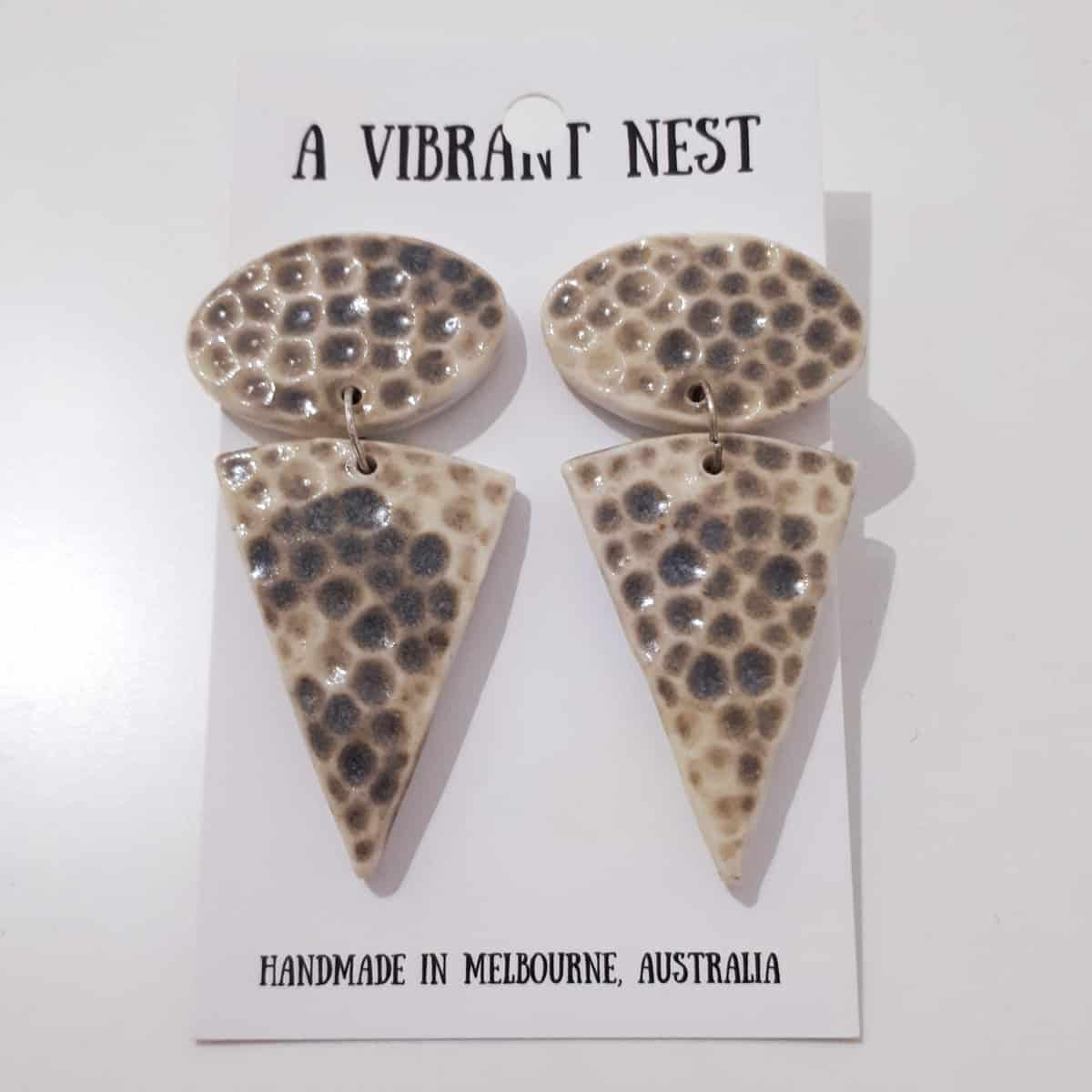 Ceramic Triangle Earrings By A Vibrant Nest