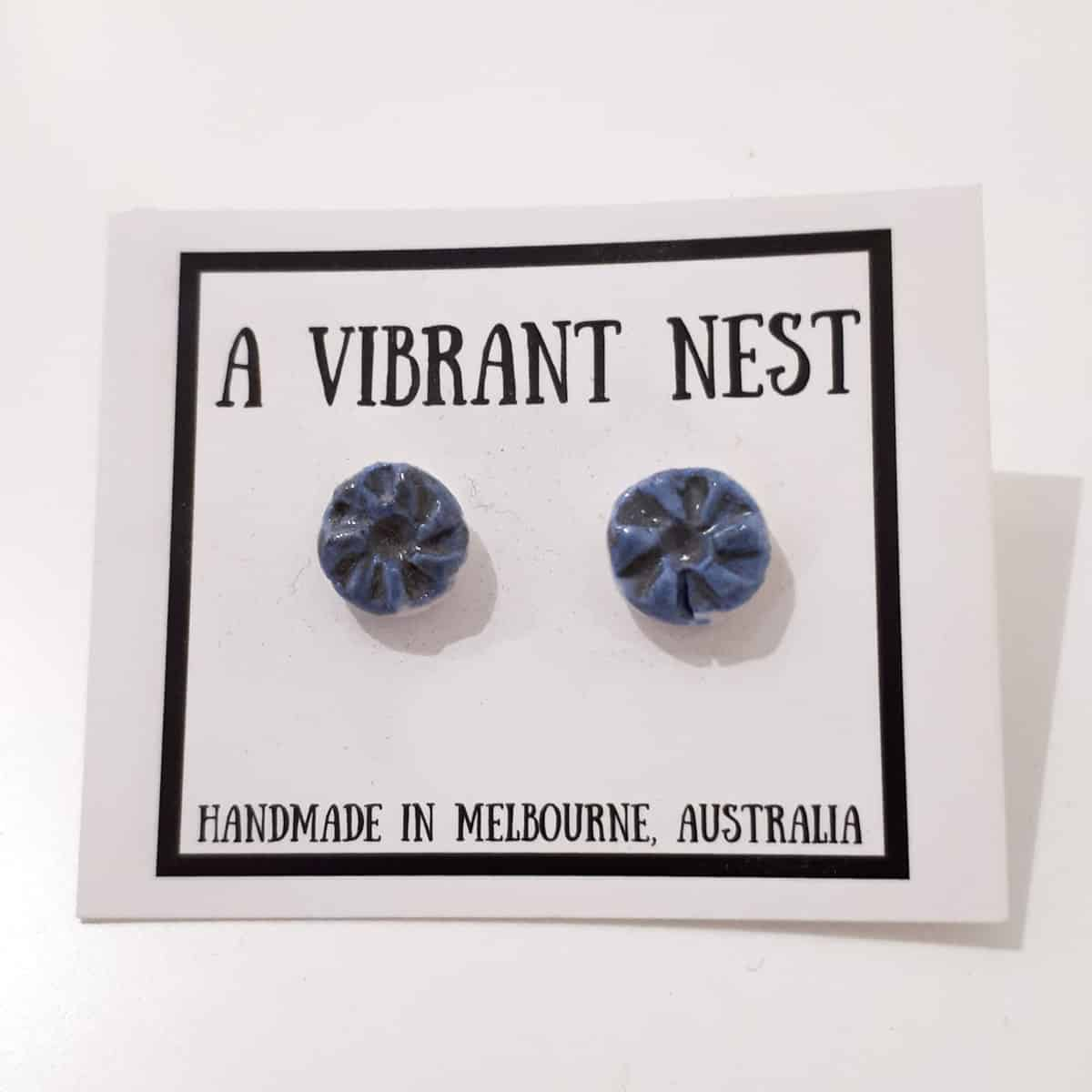 Blue Ceramic Circle Stud Earrings By A Vibrant Nest