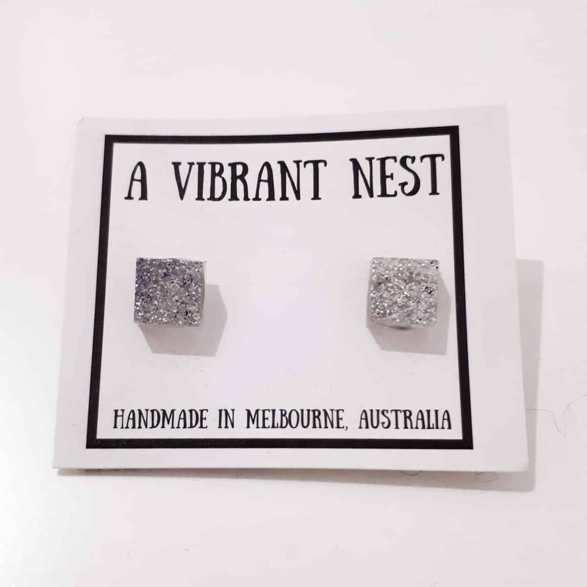 Square Silver Glitter Stud Earrings By A Vibrant Nest