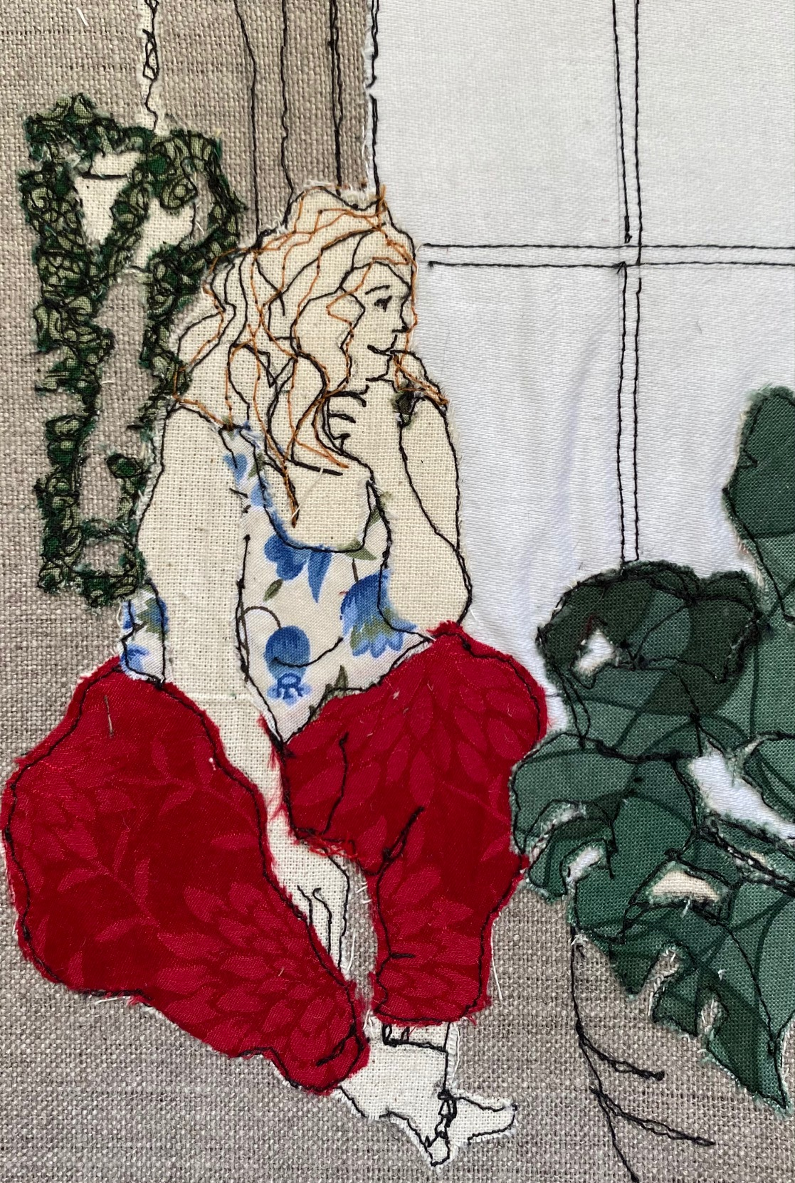 Plant Sitter Embroidered Textile Artwork By  Juliet D Collins (Fitzroy)