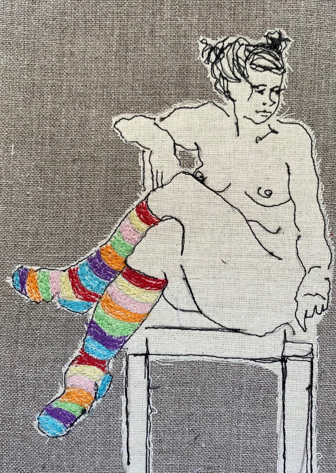 Ms Stripey Socks IV Embroidered Textile Artwork By  Juliet D Collins (Fitzroy)