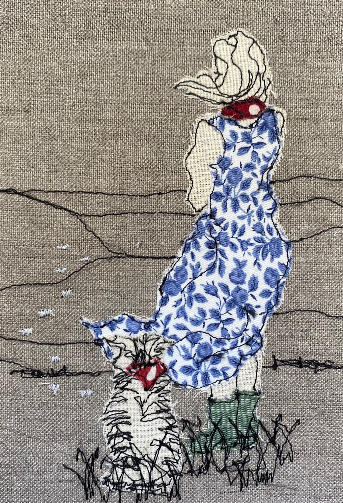 Shepherdess Embroidered Textile Artwork By  Juliet D Collins (Fitzroy)