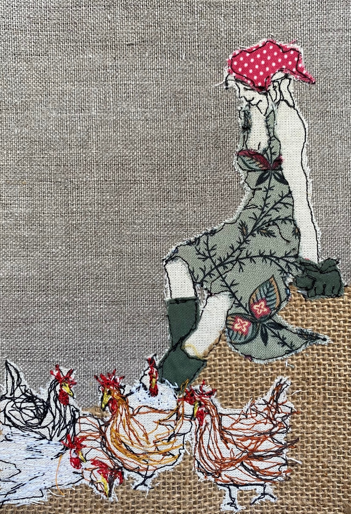 Mistress Of The Chickens Embroidered Textile Artwork By  Juliet D Collins (Prahran)