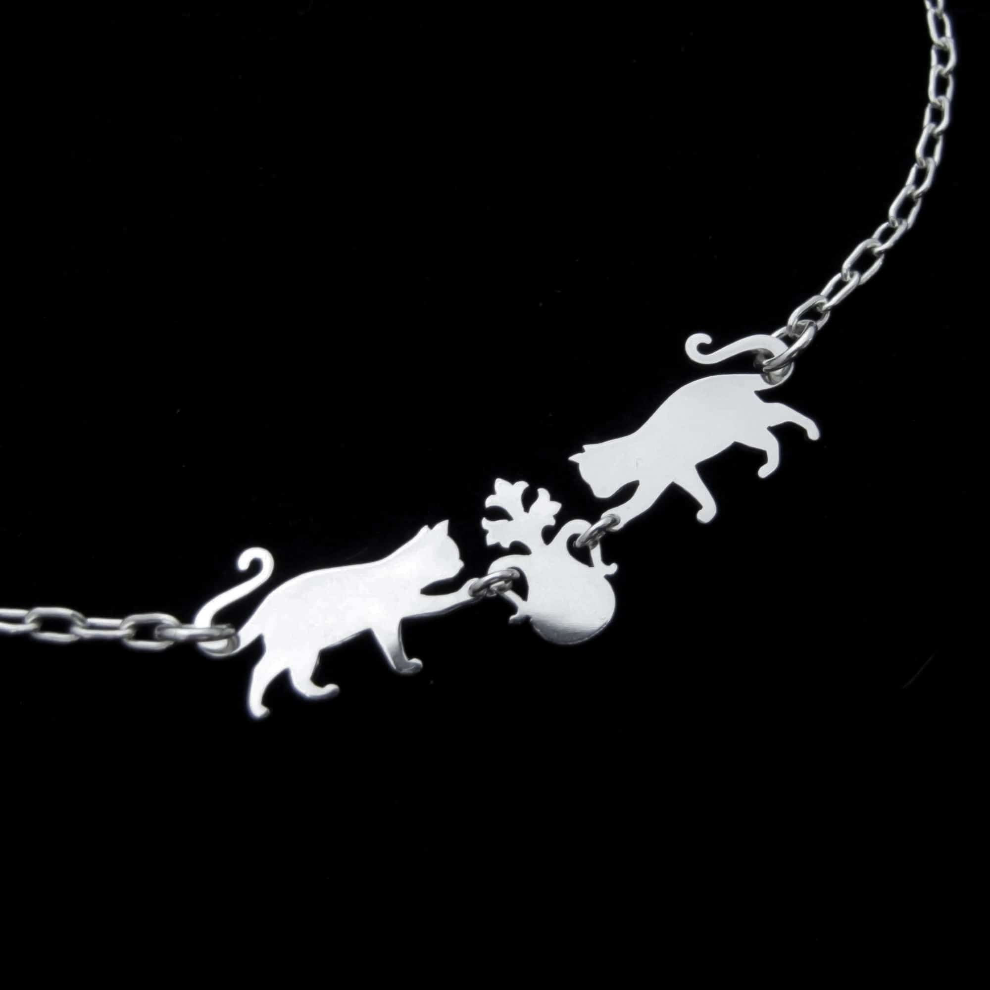 Cats Vs Plant – Silver Chain Choker Necklace By Skadi Jewellery Design