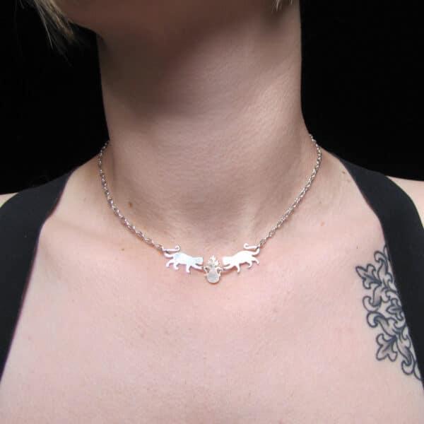 cats-vs-plant-chain-choker-necklace-by skadi jewellery design