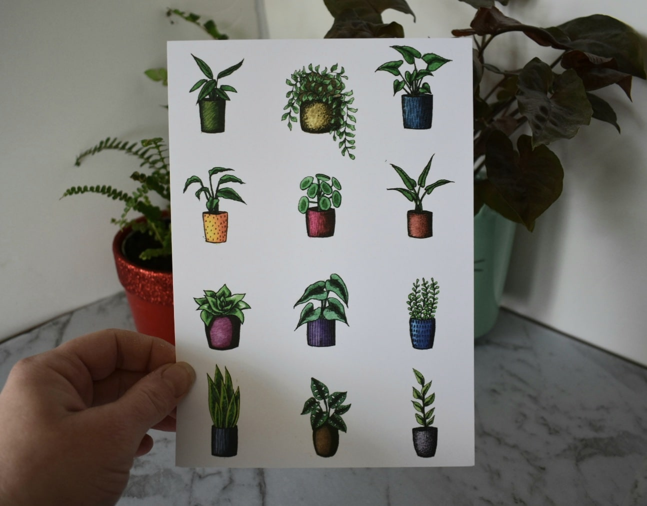 'Variety Potted Plants White' A5 Art Print Botanical Collection Sarah Sheldon Art By A Vibrant Nest