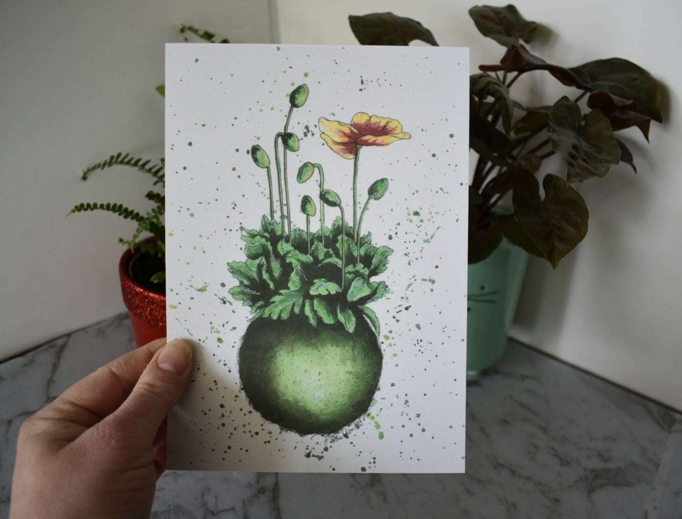 'Kokedama' A5 Art Print Botanical Collection Sarah Sheldon Art By A Vibrant Nest