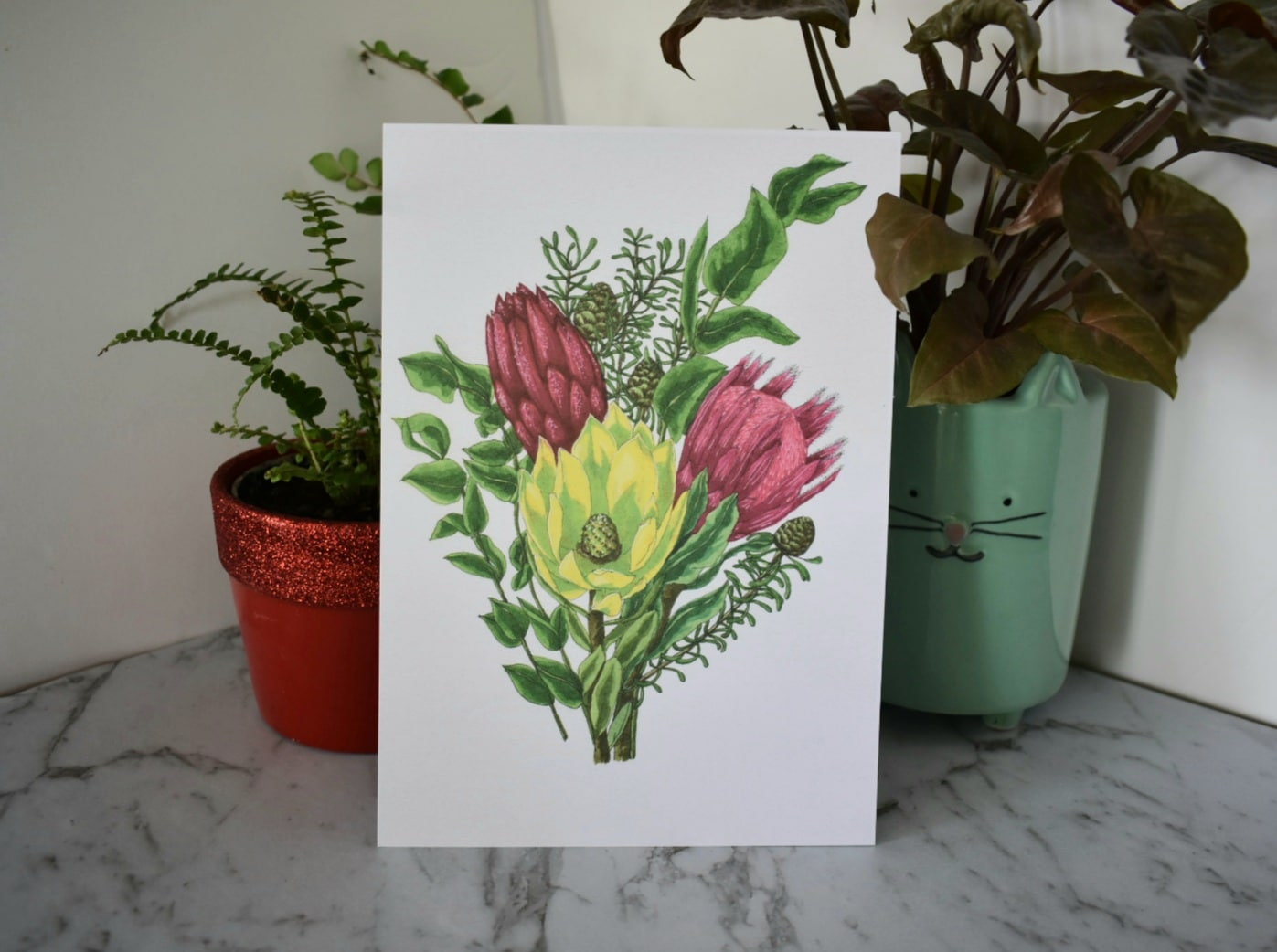 'Protea Bunch' A5 Art Print Botanical Collection Sarah Sheldon Art By A Vibrant Nest