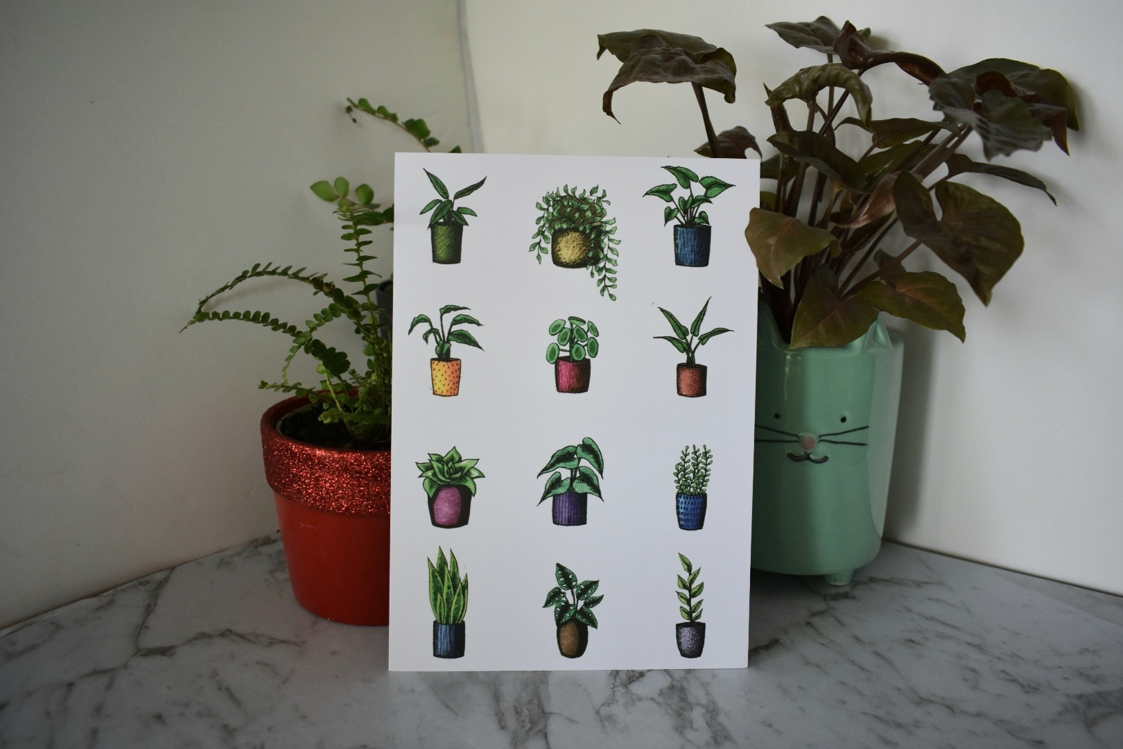 'Variety Potted Plants' A5 Art Prints Botanical Collection Sarah Sheldon Art By A Vibrant Nest