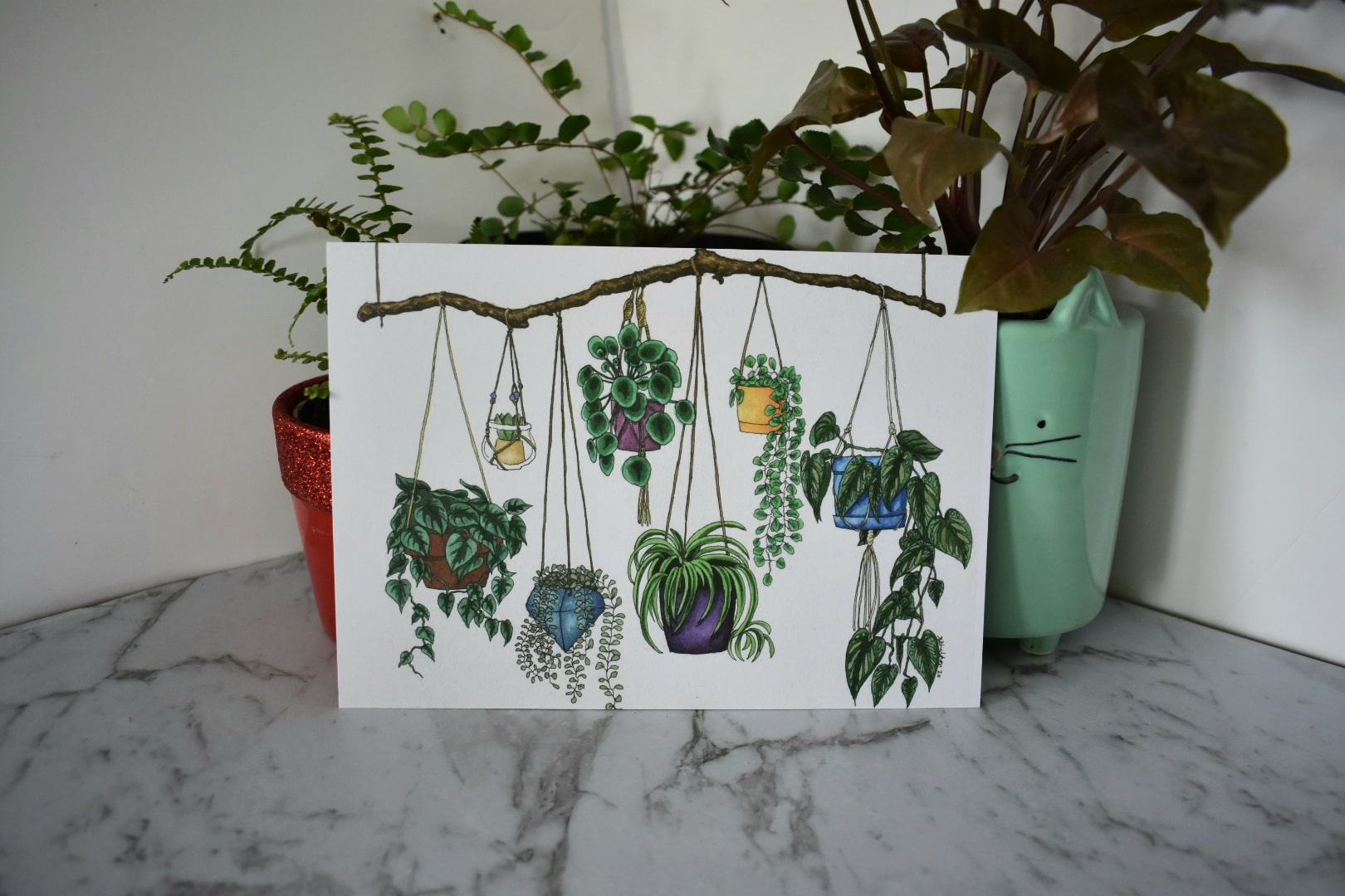 'Hanging Plants' A5 Art Print Botanical Collection Sarah Sheldon Art By A Vibrant Nest