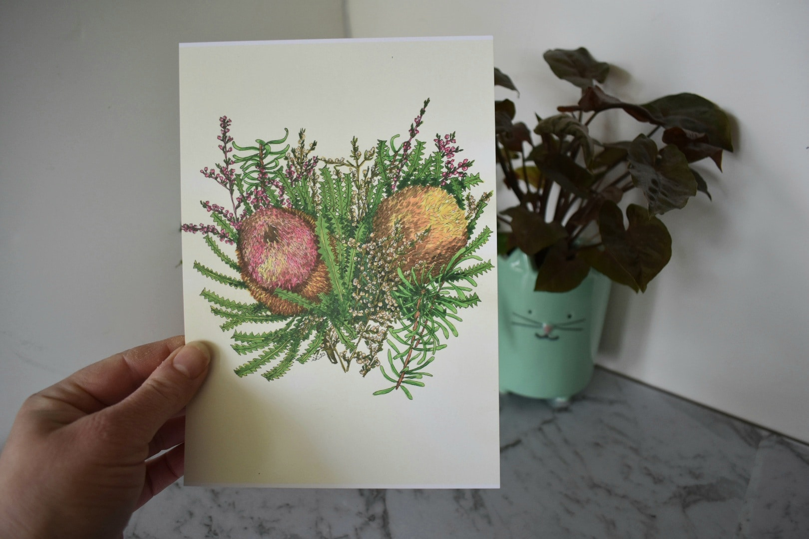 'Banksia 2' A5 Art Print Botanical Collection Sarah Sheldon Art By A Vibrant Nest