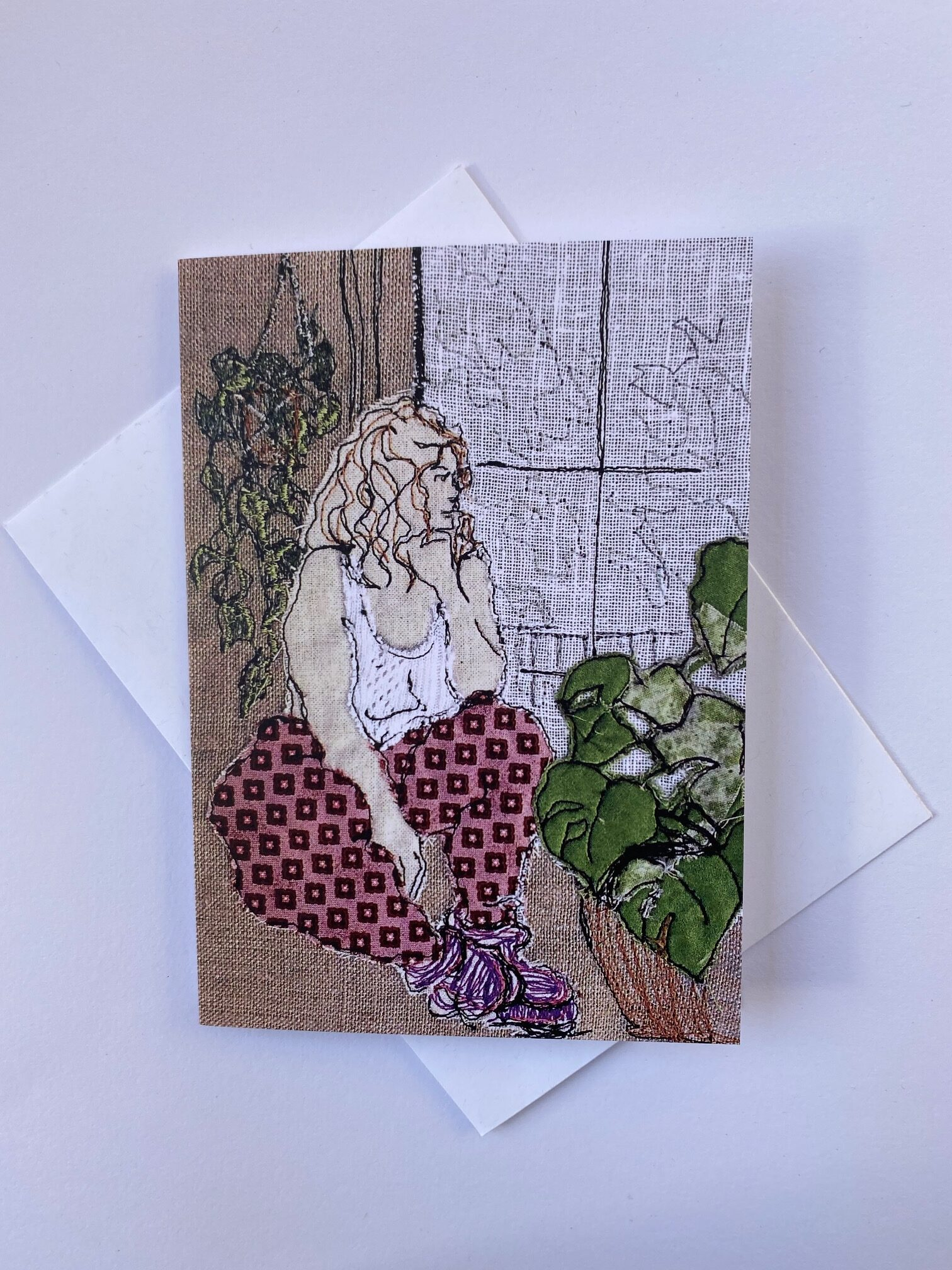 Plant Sitter Greeting Card By  Juliet D Collins (Fitzroy)