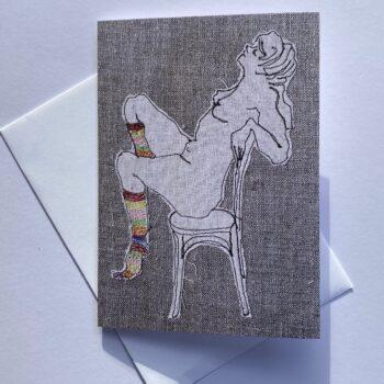 ms-stripey-socks-ii-greeting-card-by-juliet-d-collins-by-julietdcollins