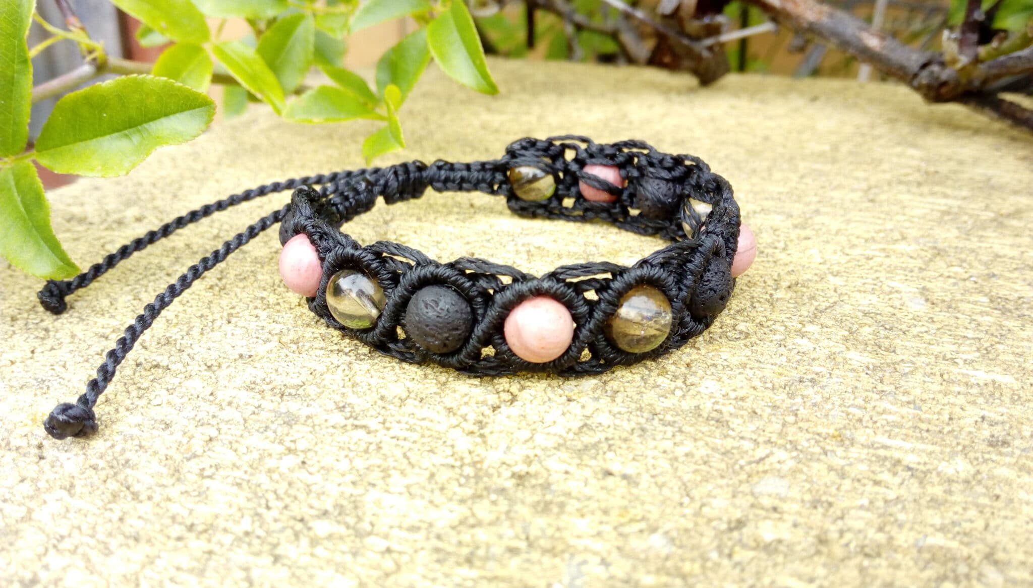Black Macrame Gemstone Bracelet Made By Athena's Owl Healing And Creations