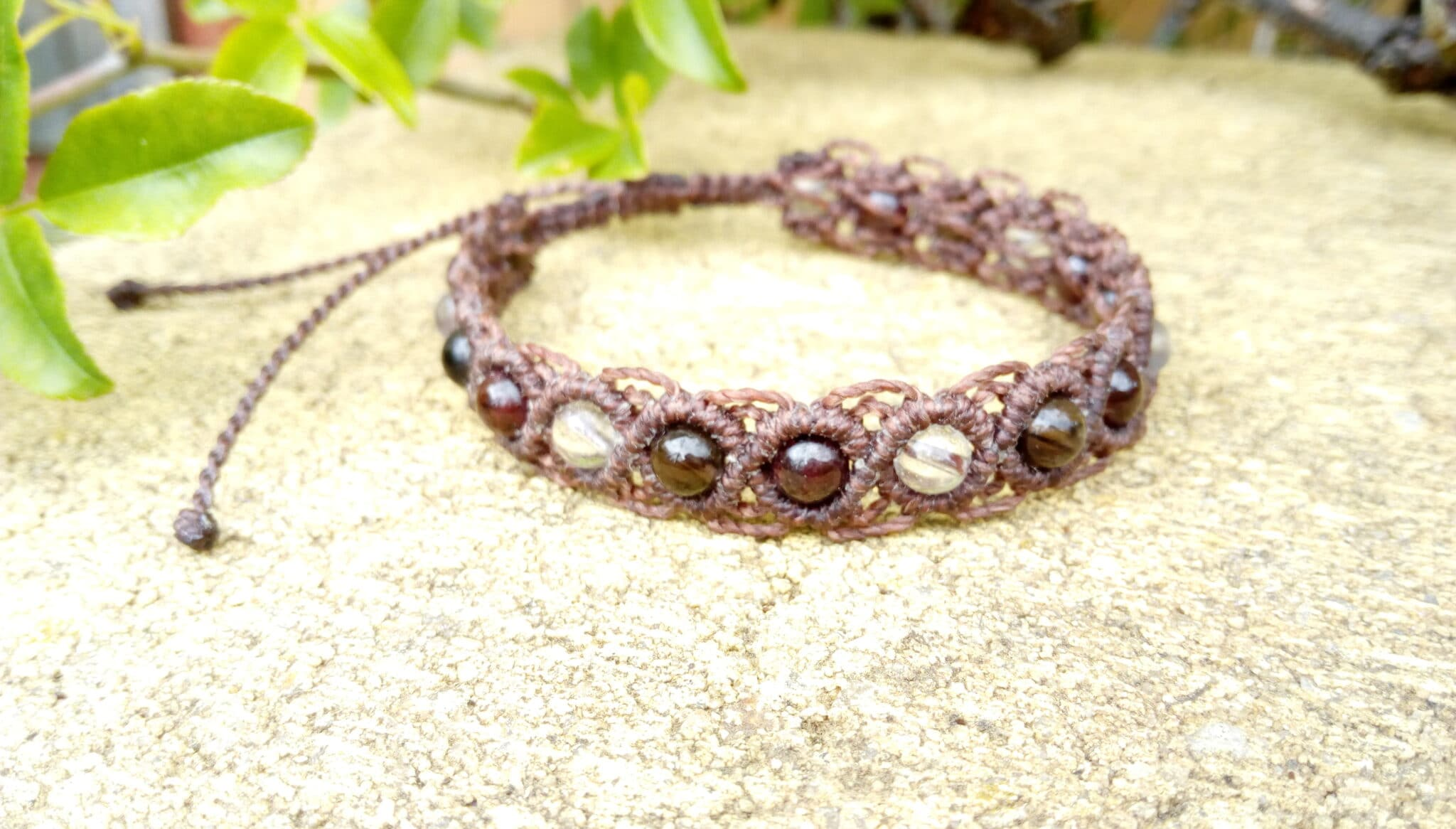 Brown Macrame Gemstone Bracelet Made By Athena's Owl Healing And Creations