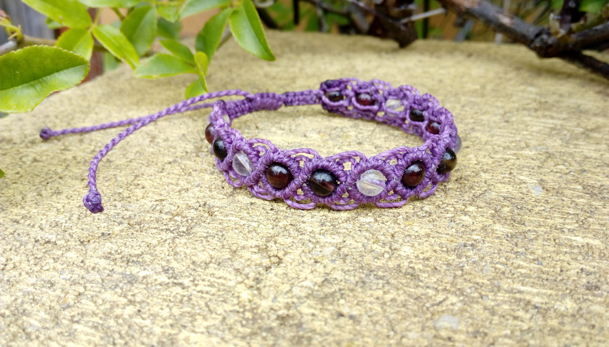 Purple Macrame Gemstone Bracelet Made By Athena's Owl Healing And Creations