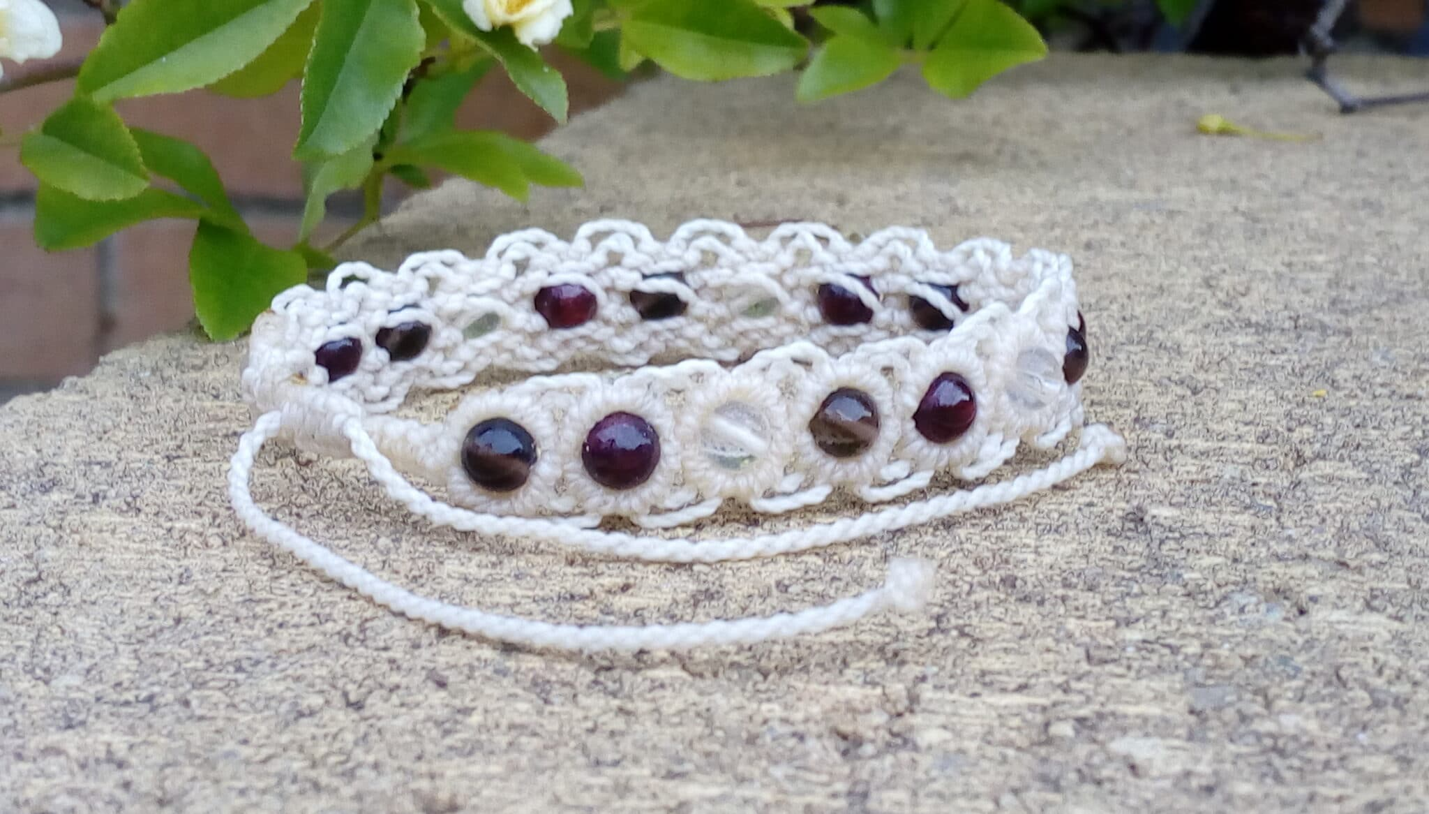 Cream Macrame Gemstone Bracelet Made By Athena's Owl Healing And Creations