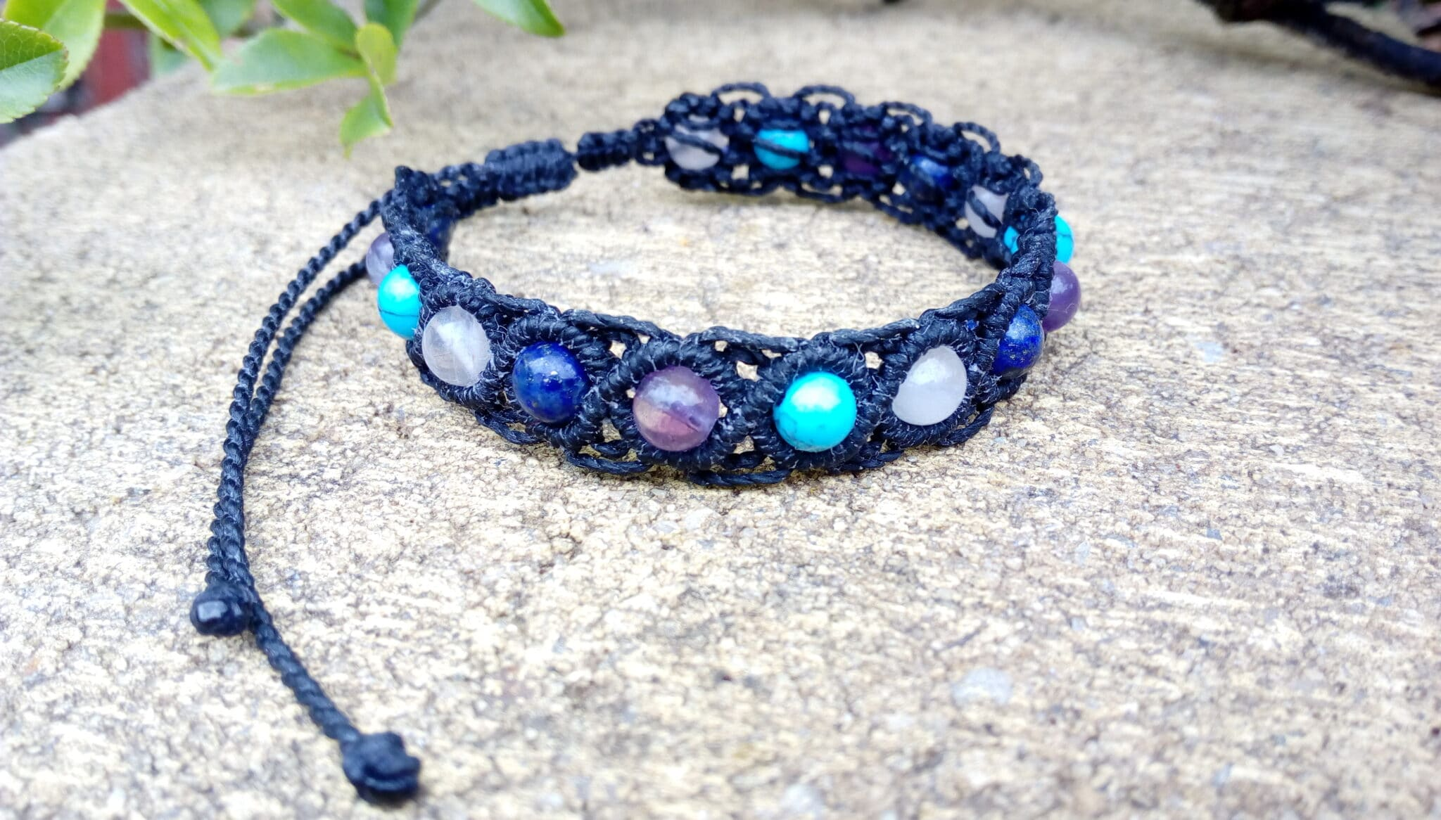 Black Macrame Gemstone Bracelet By Athena's Owl Healing And Creations