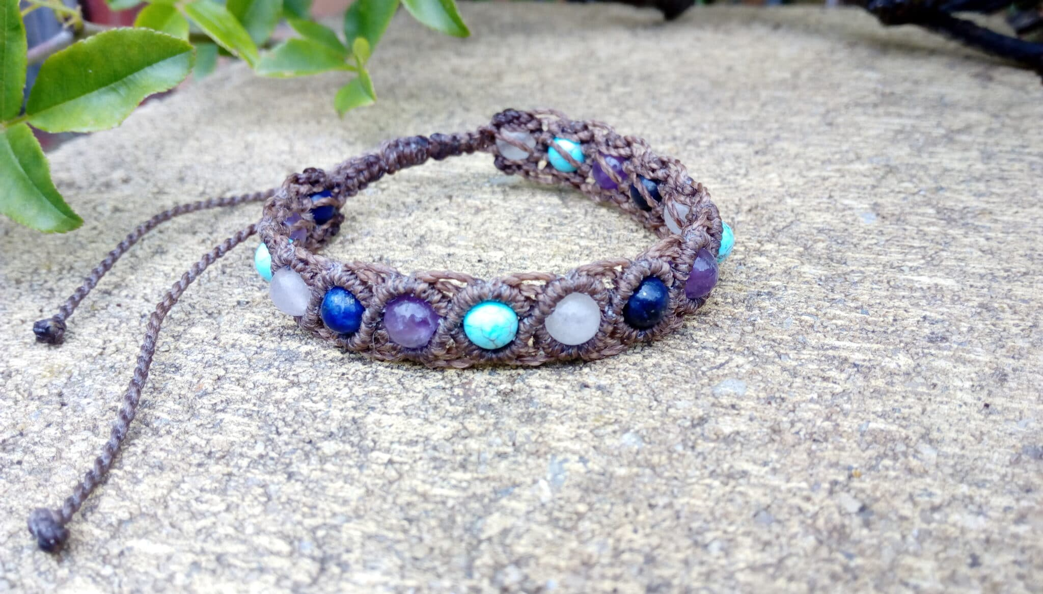 Brown Macrame Gemstone Bracelet By Athena's Owl Healing And Creations