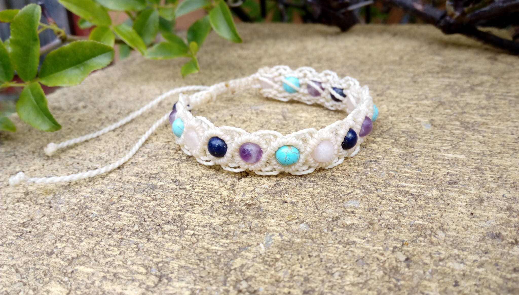 Cream Macrame Gemstone Bracelet By Athena's Owl Healing And Creations