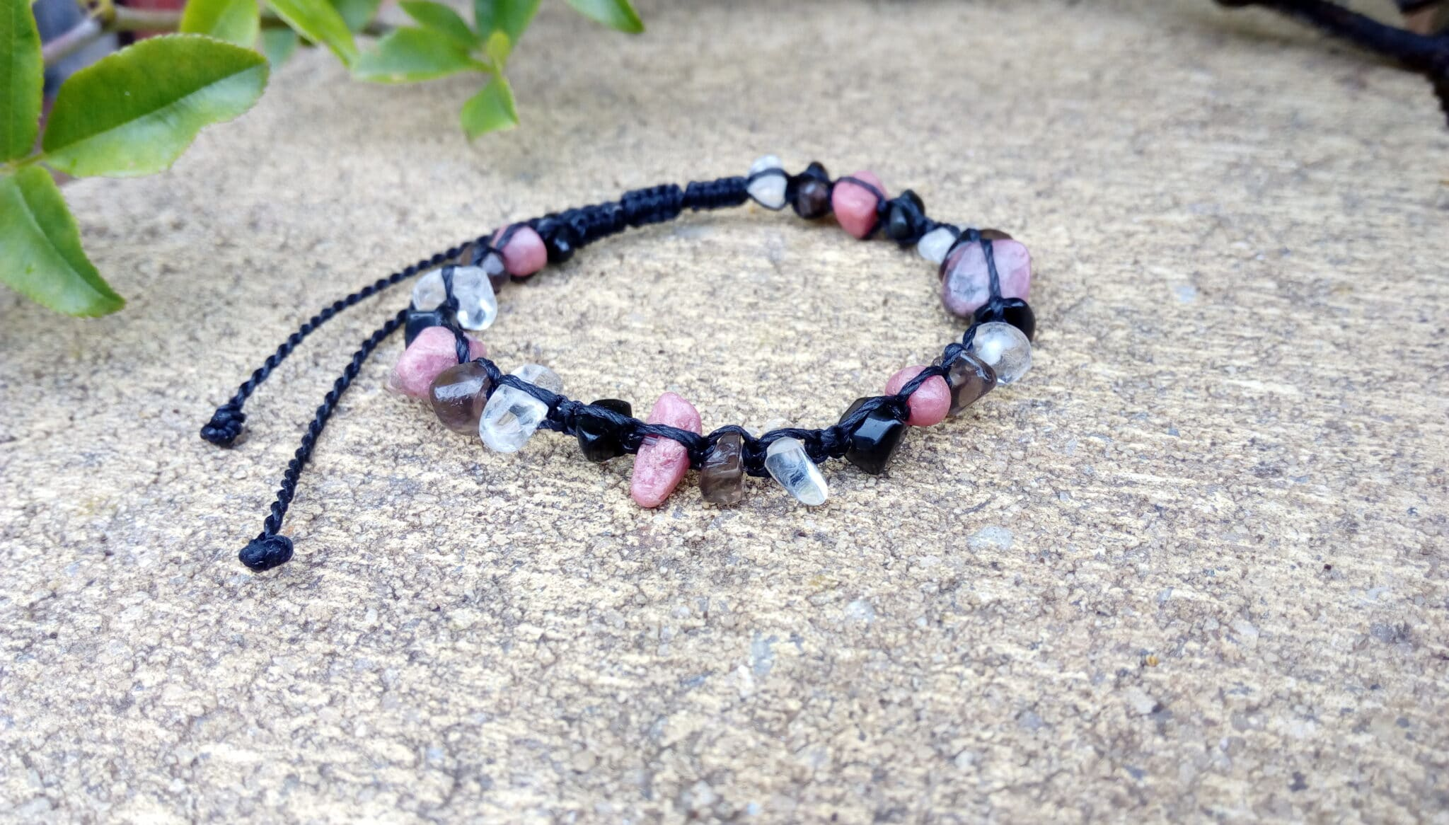 Black Macrame Bracelet With Gemstone Chips By Athena's Owl Healing And Creations