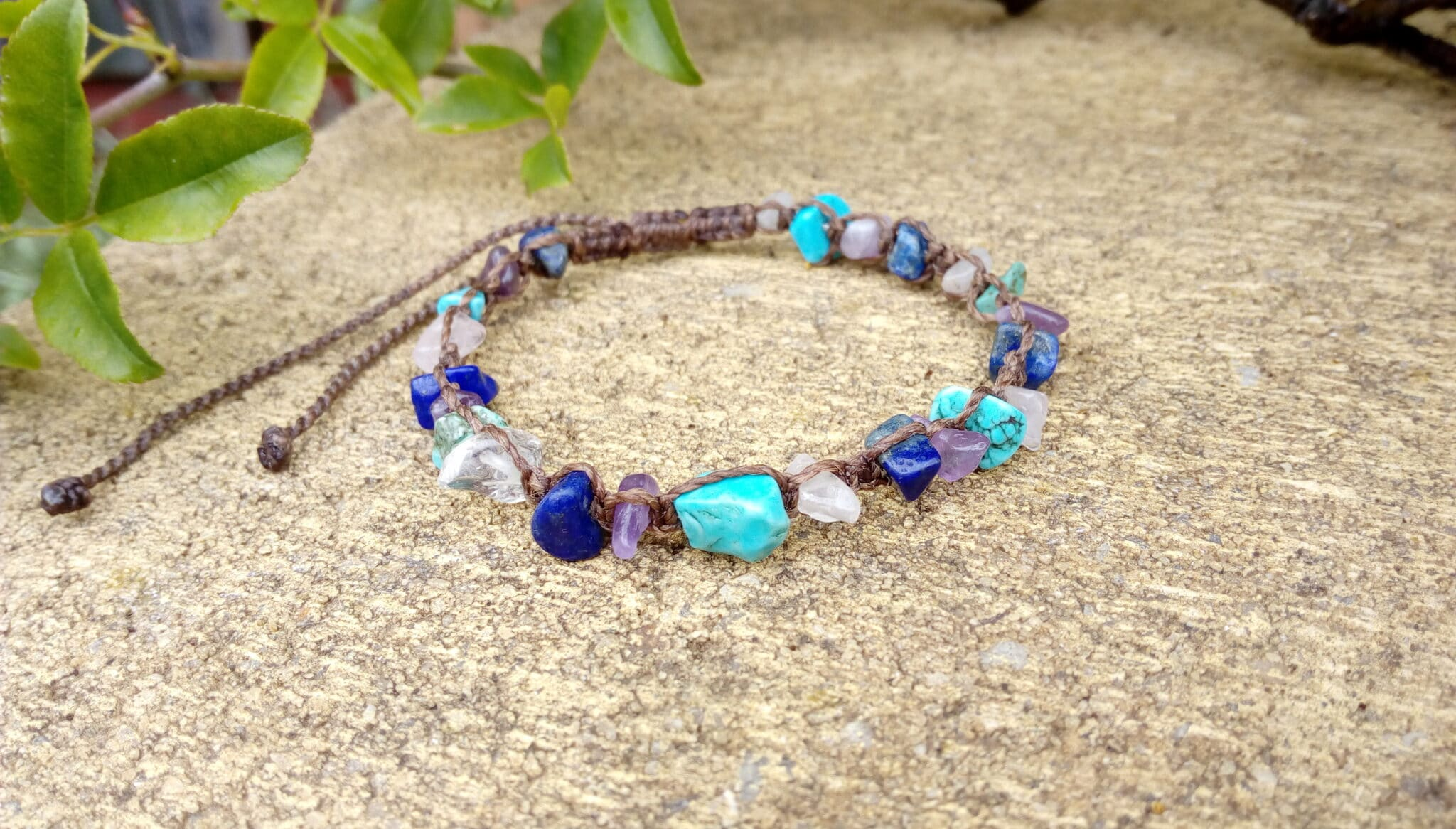 Brown Macrame Bracelet With Gemstone Chips By Athena's Owl Healing And Creations