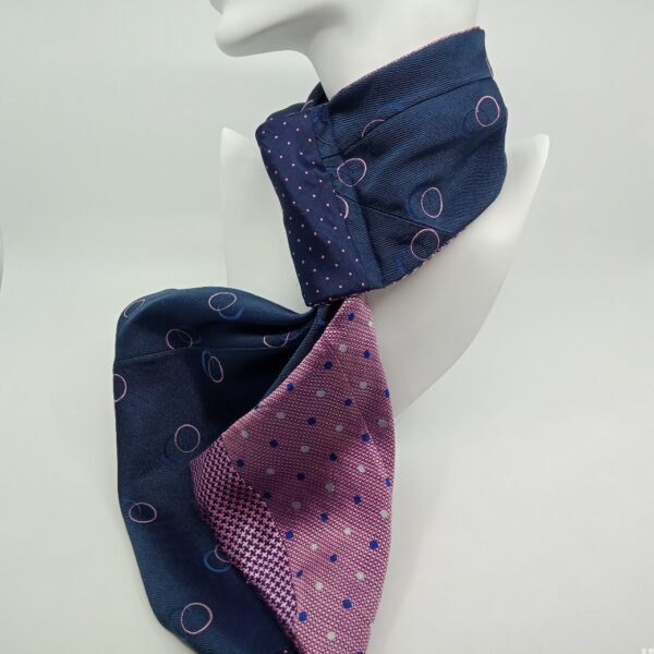 Stylish Upcycled French Silk Scarf in Pink and Navy by Judith Scott Upcycling