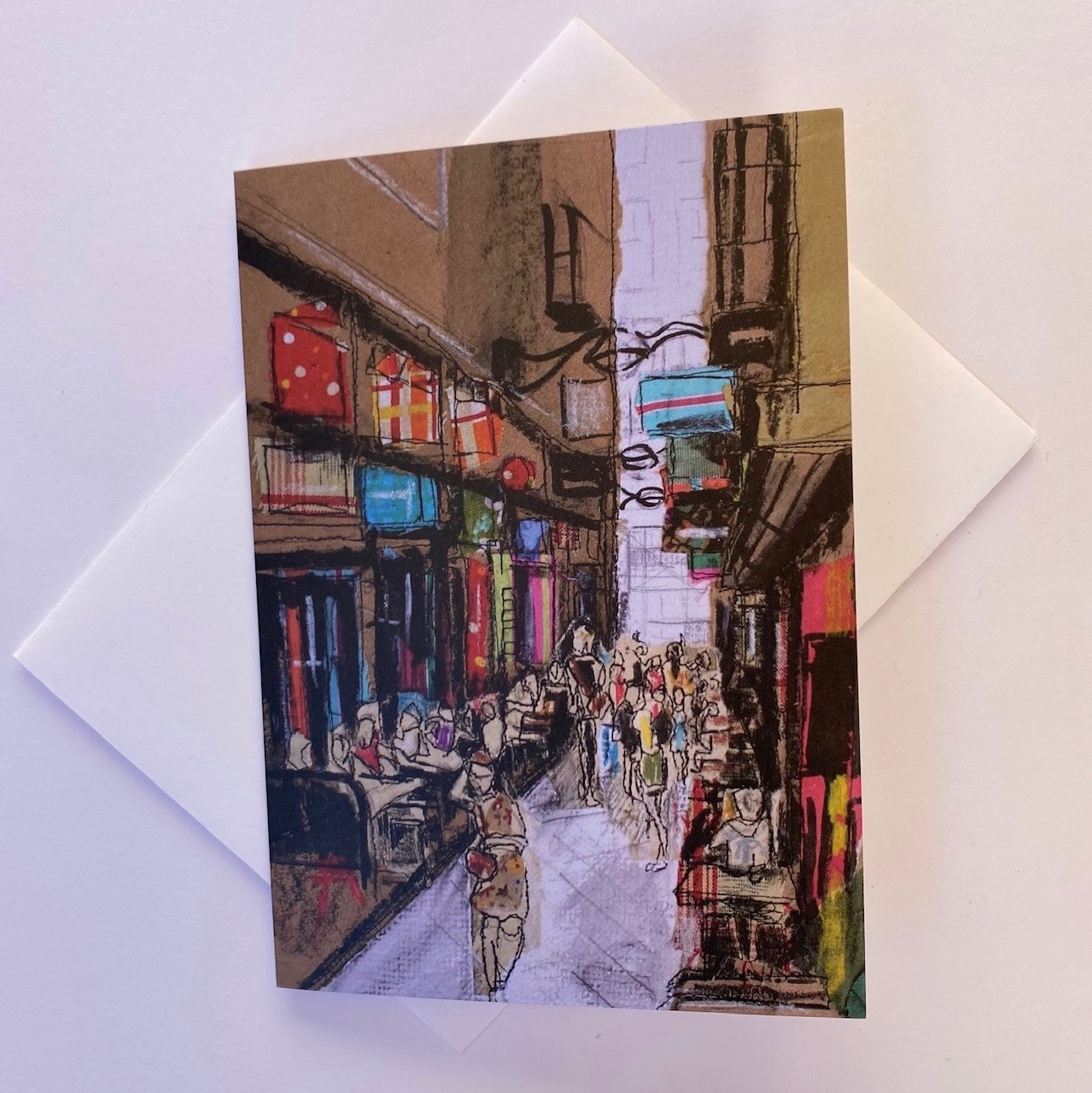 Laneway Shoppers Melbourne City Sketch Greeting Card By  Juliet D Collins (Fitzroy)