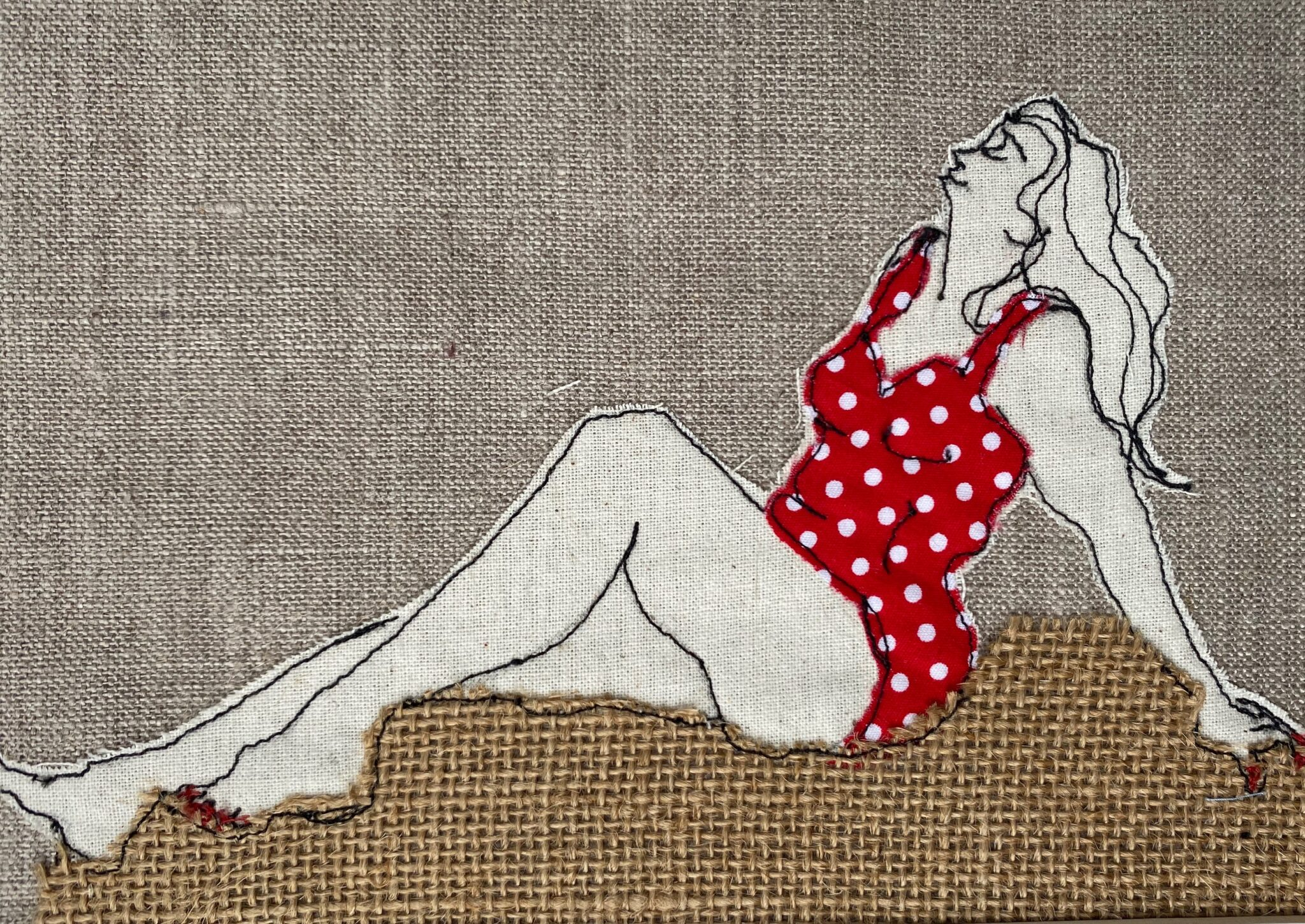 Red Cozzie Embroidered Textile Artwork By  Juliet D Collins (Prahran)