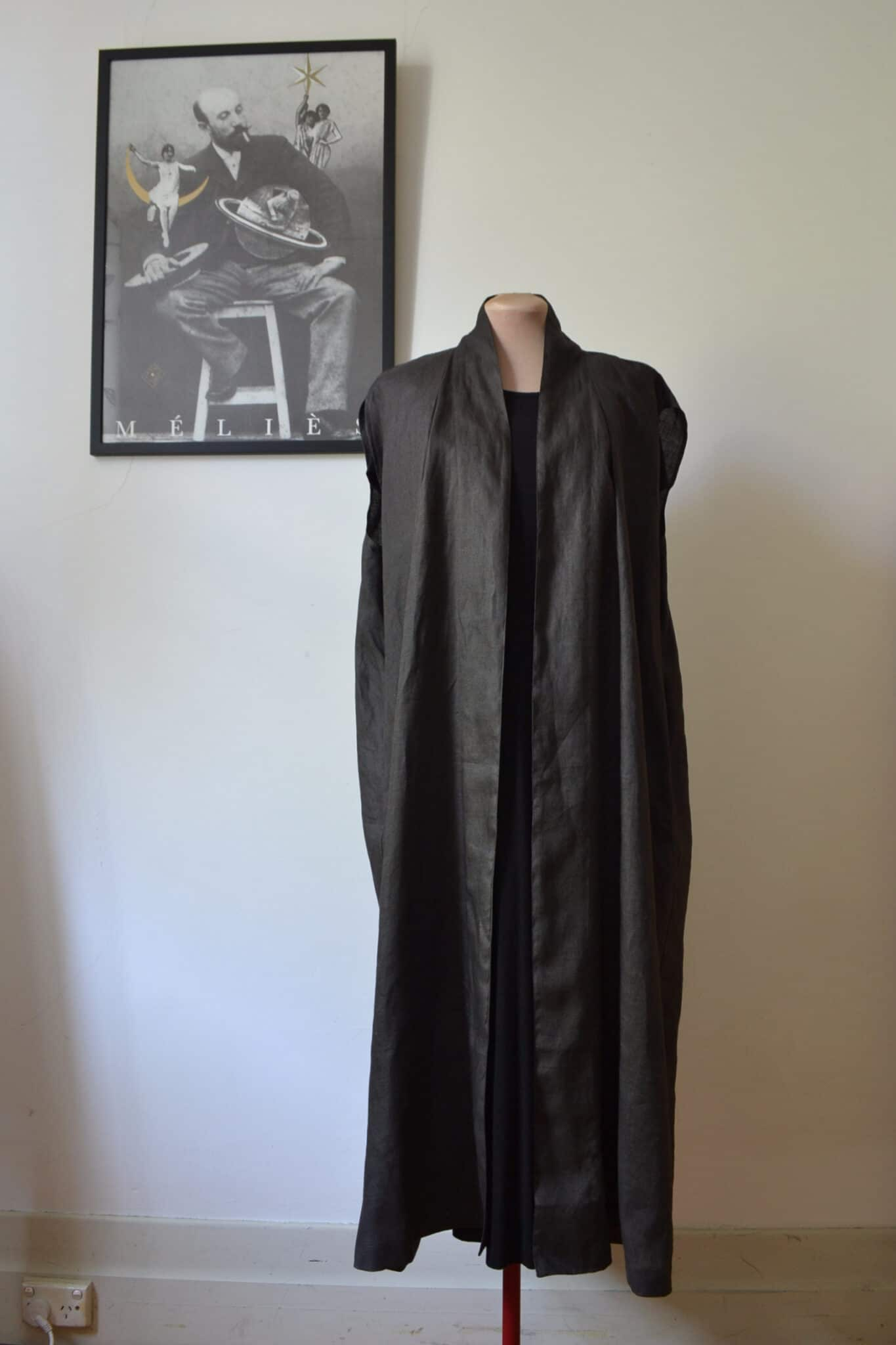 Sleeveless Robe In Slate Grey Linen Size M By à Pois