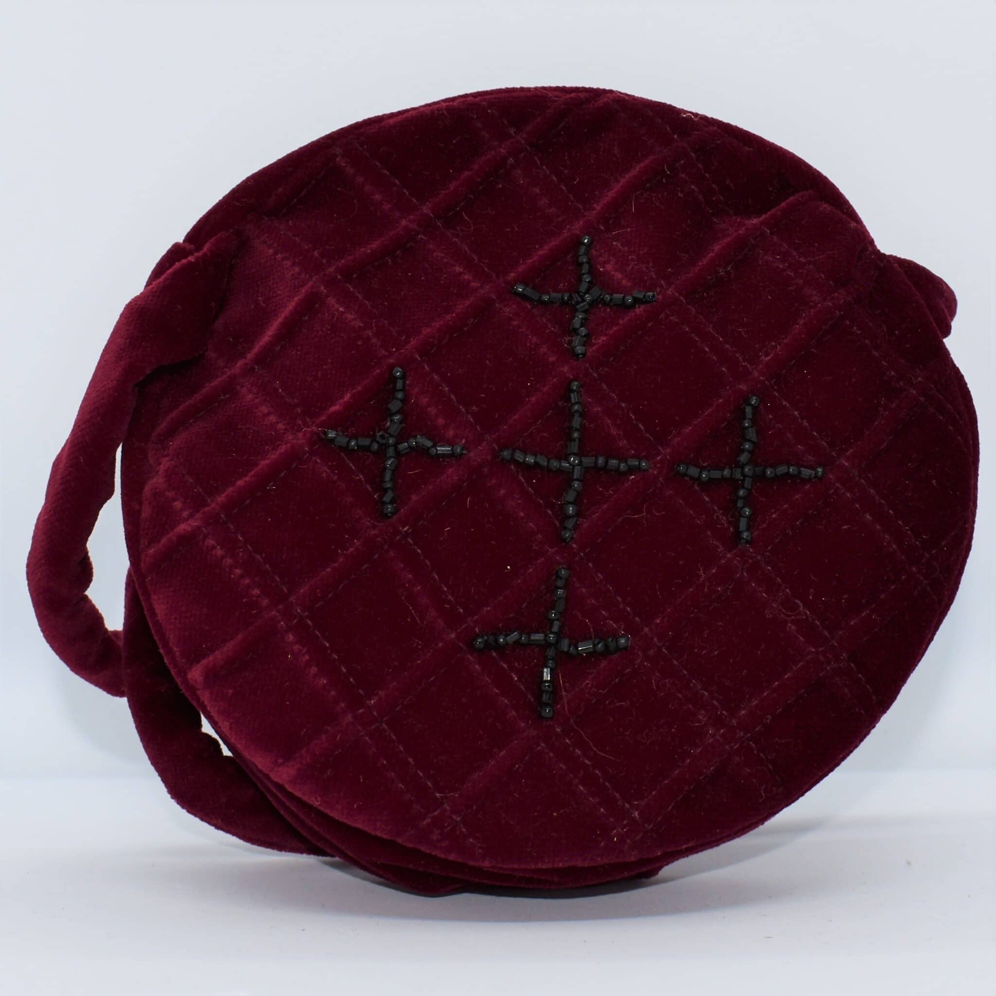 Beaded Maroon Velvet Handbag By Helen Macqueen Textile Art