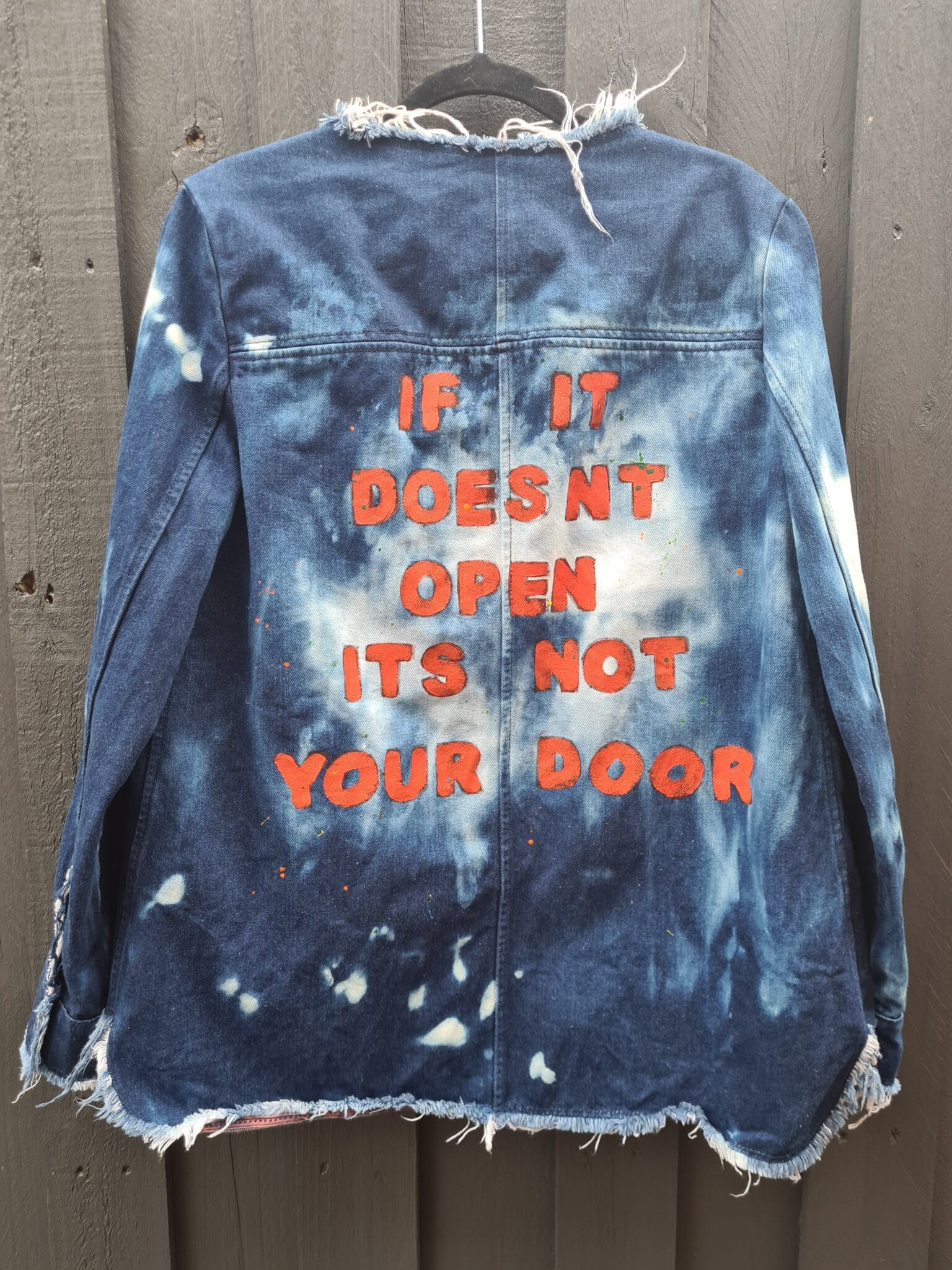 "Women's Handpainted ""Closed Doors"" Denim Jacket By Being Benign"