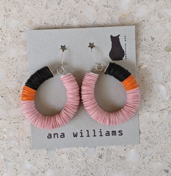 """Colourful Paper Hoop Earrings - """"Allsorts"""" Candy Pink, Tangerine and Licorice by Ana Williams"""